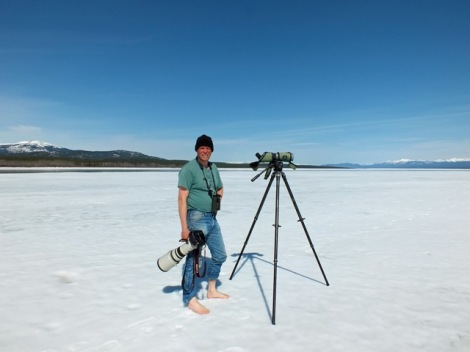 Jukka Enjoying the Hot Weather on the Pristine White Beaches of Tagish Narrow's Mudflats