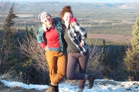 Jenna (left) and Rachel (right) Entering the Klondike (background)