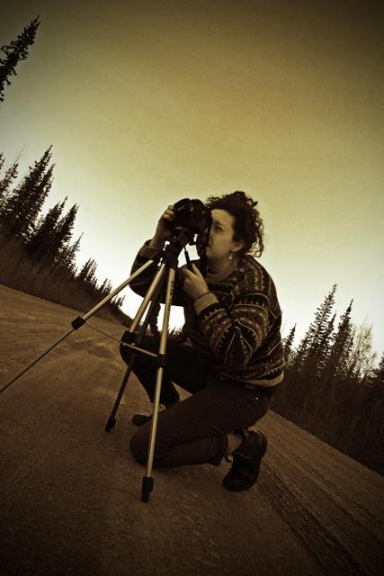 Rachel Photographing the Moon