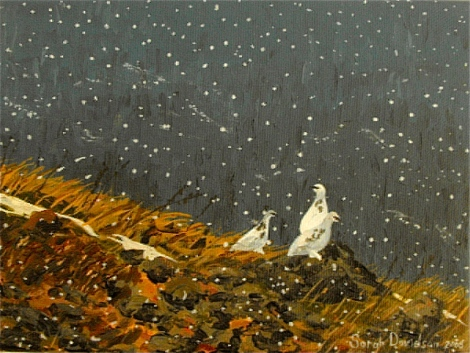 Three Ptarmigan hill  - acrylic on canvas - 6 x 8 inches - Sarah Davidson