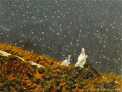 Three Ptarmigan hill  - acrylic on canvas - 6 x 8 inches - Sarah Davidson