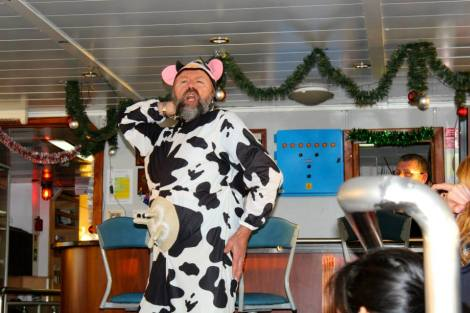 Mike doing a skit as a cow - Photo credits to Sarah Bass