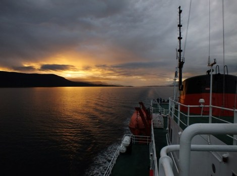 The Sun Sets in the Beagle Channel... Our Last View of Land for Two Days
