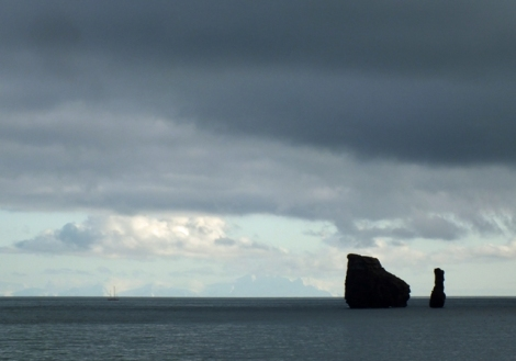 Rocks Off Deception Island. In the Left, You Can See a Fishing Boat.