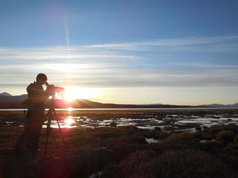 Scoping the Tagish Narrows Mudflats. Photo By Sabrina van Delft.