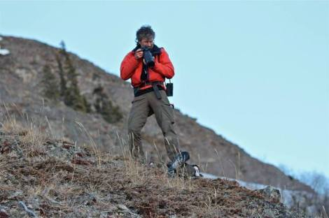 Photo By Robbie McKay. Joel Luet Photographing Dusky Grouse. Nares Mt. April 25 2014