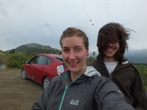 Toren and I with the Prius on top of Gray Mountain